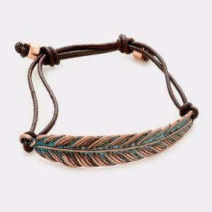 3/$30! Boho Feather & Leather Cord Cinch Bracelet